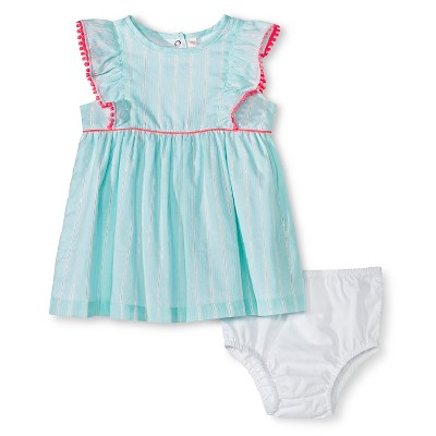 Cherokee® Baby Girls' Lurex Ruffle Dress - Aqua Stripe 3-6 M
