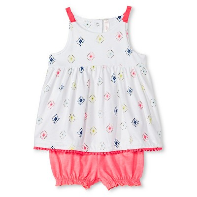 Baby Girls' Top & Bloomer Short 2 Piece Set Diamond Print/Coral 0-3 M - Cherokee®