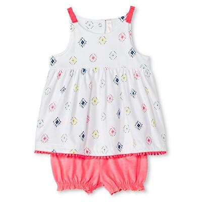 Baby Girls' Top & Bloomer Short 2 Piece Set Diamond Print/Coral 0-3 M - Cherokee®