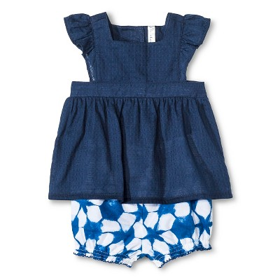 Cherokee® Baby Girls' Top & Bloomer Short 2 Piece Set - Nighttime Blue/Shibori 0-3 M