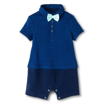 Cherokee® Baby Boys' Little Man Bowtie Romper - Blue/Navy Stripe 3-6 M