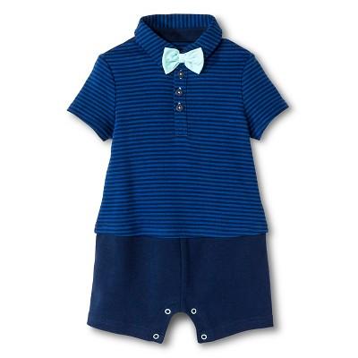 Cherokee® Baby Boys' Little Man Bowtie Romper - Blue/Navy Stripe 12 M
