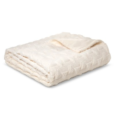 Bed Blanket Quilted Textured Plush Full/Queen Ivory - Room Essentials™