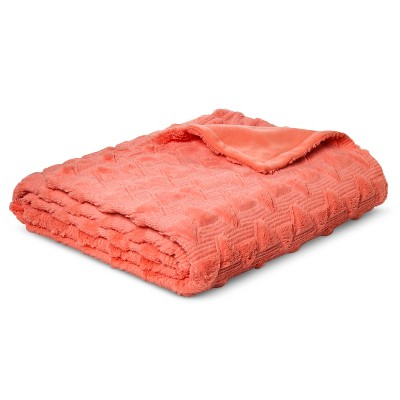 Bed Blanket Quilted Textured Plush Full/Queen Coral - Room Essentials™