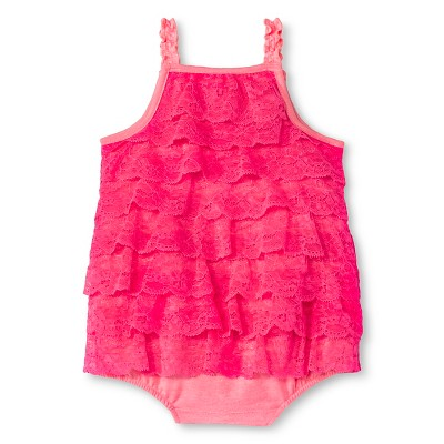 Cherokee® Baby Girls' Lace Romper - Coral 0-3 M