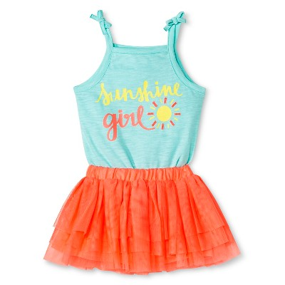 Cherokee® Baby Girls' Bodysuit Top and Tutu Skirt Set - Aqua/Pink 12 M