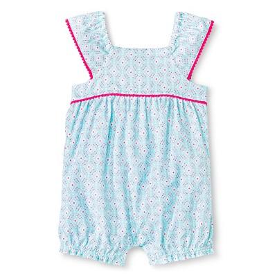 Baby Girls' Flutter Sleeve Romper Aqua Print 0-3M - Cherokee®