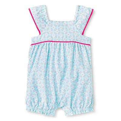 Cherokee® Baby Girls' Flutter Sleeve Romper - Aqua Print 6-9M