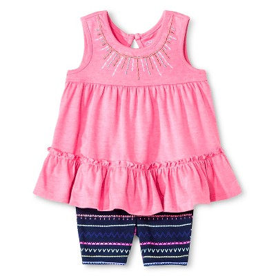 Cherokee® Baby Girls' Embroidered Top and Short Set - Pink/Multi Stripe  3-6 M