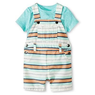 Cherokee® Baby Boys' Bodysuit & Short Overall Set - Aqua/Multi Stripe NB