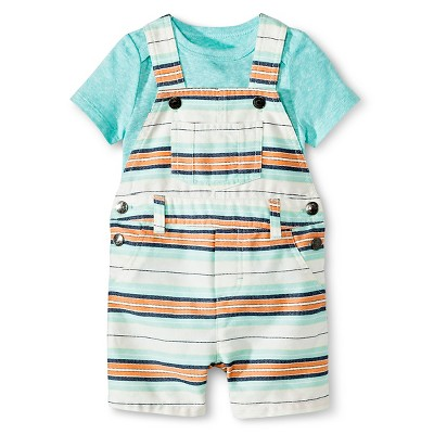 Cherokee® Baby Boys' Bodysuit & Short Overall Set - Aqua/Multi Stripe 3-6 M