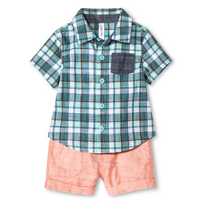 Cherokee® Baby Boys' Shirt & Shorts 2 Piece Set - Multi Plaid/Baja Coral 18 M