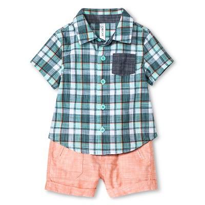 Cherokee® Baby Boys' Shirt & Shorts 2 Piece Set - Multi Plaid/Baja Coral 18 M