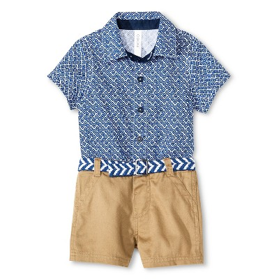 Baby Boys' 2 Piece Bodysuit and Short Set Blue/Brown 12M - Cherokee®