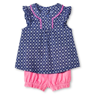 Cherokee® Baby Girls' Print Tunic Top and Bloomer Short Set - Medallion Print/Pink  6-9 M