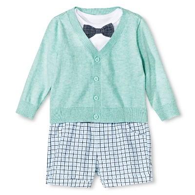 Cherokee® Baby Boys' Bowtie Bodysuit, Sweater, Short 3 Piece Set - Aqua 3-6 M