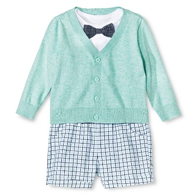 Cherokee® Baby Boys' Bowtie Bodysuit, Sweater, Short 3 Piece Set - Aqua 6-9 M
