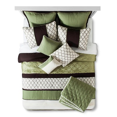 Darcey Horizontal Pieced Bed Set Queen 10 Piece - Green