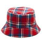 Boys' Reversible Plaid Bucket Hat - Red/White/Blue 4-16