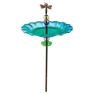 Delightful Dragonfly Staked Birdbath Blue - Evergreen