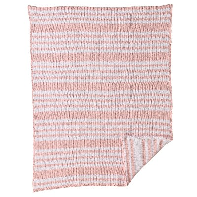 CoCaLo Chenille Knitted Blanket - Stripe - Petal Pink