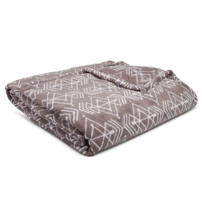 Bed Blanket Microplush Geo Print Full/Queen Gray - Room Essentials™