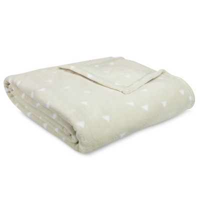 Bed Blanket Microplush Triangles Print Full/Queen Tan - Room Essentials™
