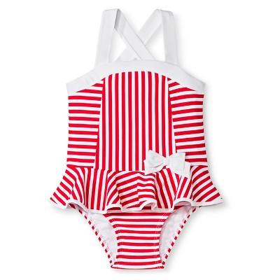 Baby Girls' Stripe One Piece Swimsuit Beach Pink 18M - Circo™