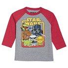 Toddler Boys' Star Wars Long Sleeve Raglan T-Shirt - Athletic Heather & Red 4T