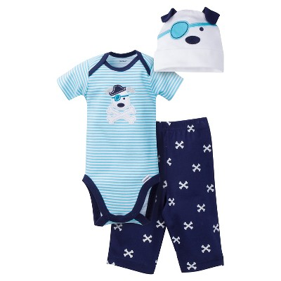 Gerber® Baby Boys' 3pc Dog Set Blue 3-6M