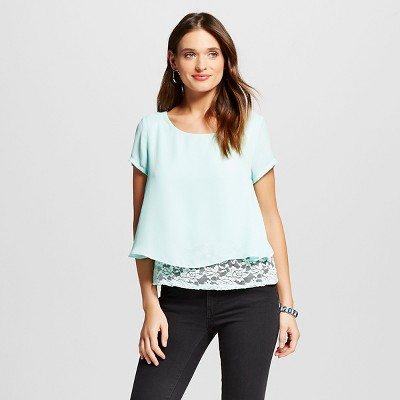 Women's Lace Underlay Top Mint S -Lily Star