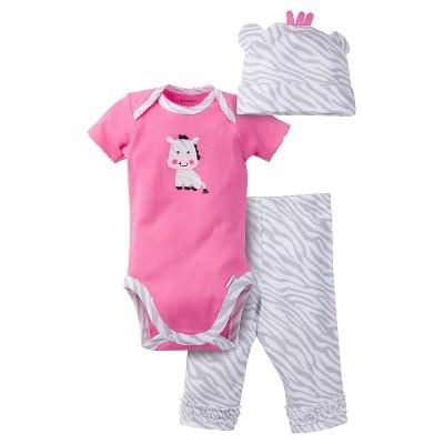 Gerber® Baby Girls' 3pc Giraffe Set Pink/Grey 6-9M