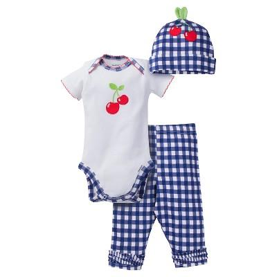 Gerber® Baby Girls' 3pc Cherry Set Blue/White 6-9M
