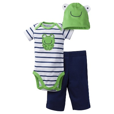 Gerber® Baby Boys' 3pc Frog Set Green/Blue 6-9M