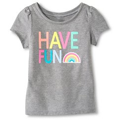 Toddler Girls' Have Fun Short Sleeve Graphic Tee Gray - Circo™