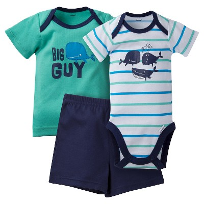 Gerber® Baby Boys' 3 Piece Whale Onesie, Tee and Short Set 3-6M - Blue/Green