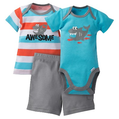 Gerber® Baby Boys' 3 Piece Shark Onesie, Tee and Short Set 6-9M - Aqua/Grey