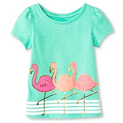 Toddler Girls' Flamingo Short Sleeve Graphic Tee Green - Circo™