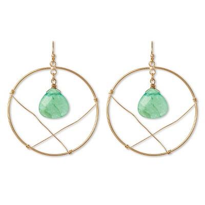 "Women's Natasha Accessories Imitation Gold Circular Drop Earring   with  Stone - Gold/Mint (2"")"