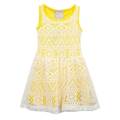 Sara Sara Neon Baby Girls' Tribal Design Dress - Yellow 12M