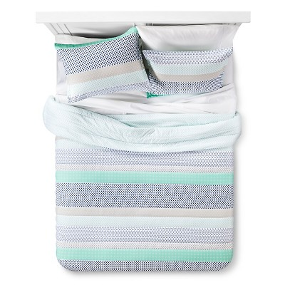 Microstripe Printed Comforter Set Full/Queen Green&Blue - Xhilaration™