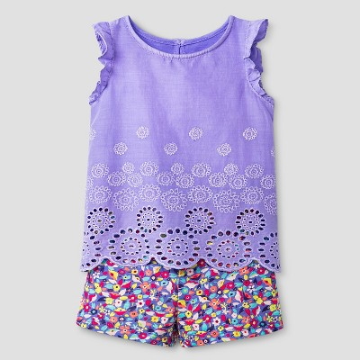 Baby Girls' 2-Piece Eyelet Top and Convertible Short Set Purple Multicolored 12M - Cherokee®