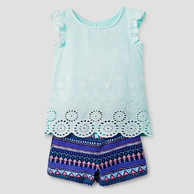 Toddler Girls' 2-Piece Eyelet Top and Convertible Short Set Blue/Multicolored 4T - Cherokee®