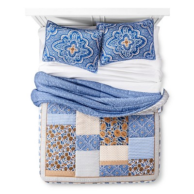 Patchwork Comforter Set Full/Queen Tan&Navy - Xhilaration™