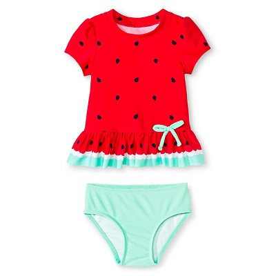 Baby Girls' 2-Piece Fruit Print Swim Rash Guard Set Circo Beach Pink 9M - Circo™