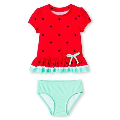 Baby Girls' 2-Piece Fruit Print Swim Rash Guard Set Circo Beach Pink 12M - Circo™