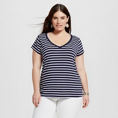 Women's Plus Size Favorite Tee Navy and White Stripe - Merona™