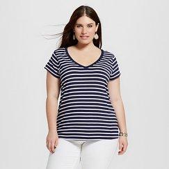 Women's Plus Size Favorite Tee Navy and White Stripe - Merona™