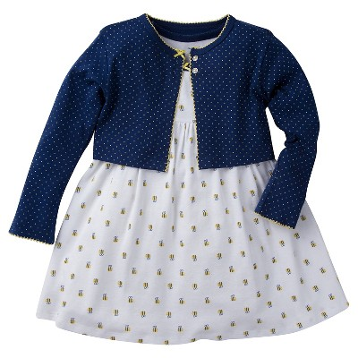 Gerber® Baby Girls' Bee Dress Set - Navy 0-3M