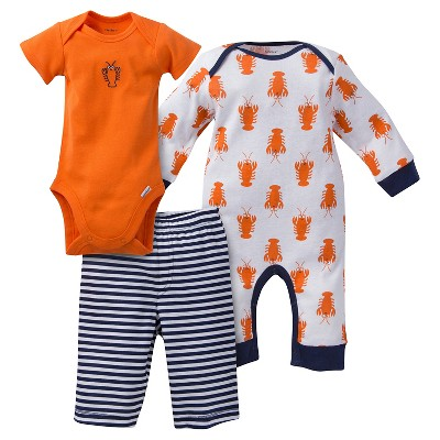 Gerber® Baby Boys' 3pc Lobster Coverall Set - Orange 0-3M